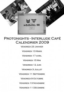 Calendrier des protonights à l'Interlude café (Paris)
