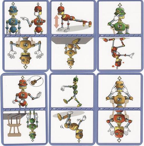 Voici 6 cartes objectifs :  la couleur du robot indique la difficulté (vert : facile, jaune : moyen et rouge : difficile)